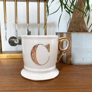Anthropologie Monogram Letter C Gold Initial Mug